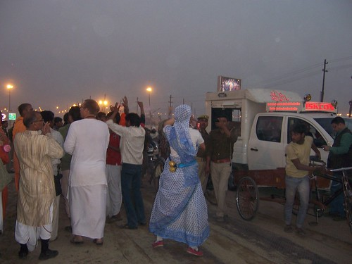 Iskcon dancing group at the Kumbh Mela