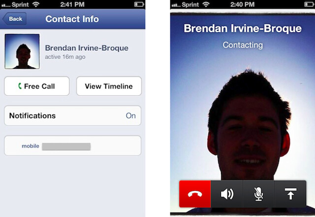 facebook voice calling in iOS