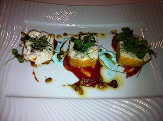 Pez mantequilla con chutney de tomate y mahonesa de wasaby