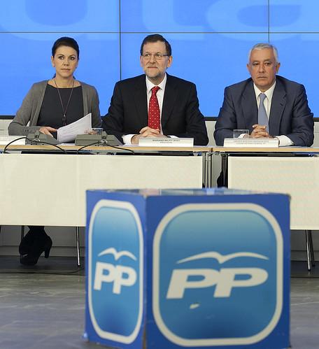 Rajoy, con Cospedal y Arenas en el Comité Ejecutivo del PP