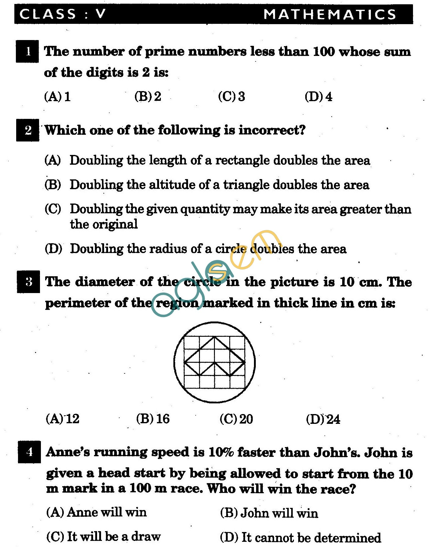 NSTSE 2011 Class V Question Paper with Answers - Mathematics