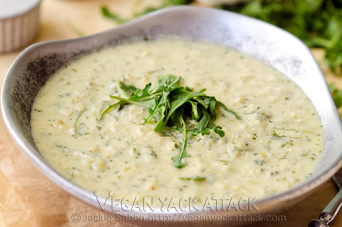 A light, filling creamy 3-in-1 Artichoke Arugula Soup that's healthy and combines artichoke hearts and arugula! Vegan, Gluten-free