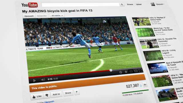 FIFA 13 goal uploaded to YouTube