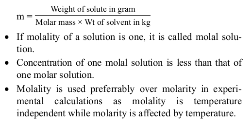 Concentration Terms of Solutions