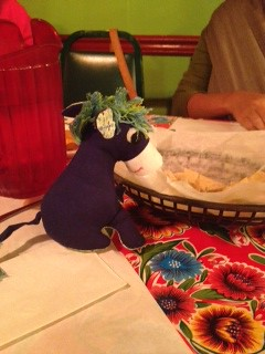 Deirdre the Donkey out for dinner in the US, 12 Oct 2012