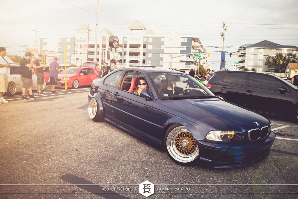 blue bmw e46 m3 coupe brown bbs rs at h2oI 2012 3pc wheels static airride low slammed coilovers stance stanced hellaflush poke tuck negative postive camber fitment fitted tire stretch laid out hard parked seen on klutch republik