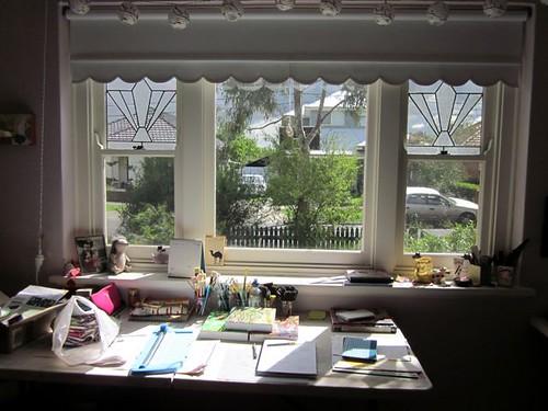 Sun shining in the studio window
