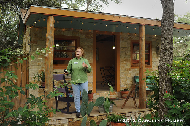 Carolyn Williams on her cottage porch