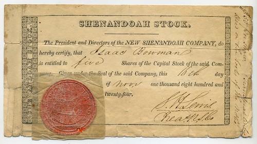 New Shenendoah Company stock certificate
