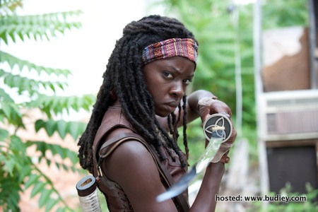 Michonne (played by Danai Gurira) ready with her katana