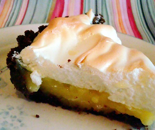 Lemon meringue pie in a chocolate cookie crust