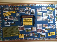 Room 402's bulletin board about our Fund for Teachers trip to Vietnam and Laos
