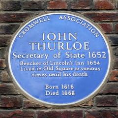 Photo of John Thurloe blue plaque