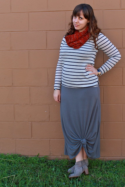 Knotted maxi outfit: knotted maxi skirt, striped J.Crew cashmere sweater, ankle boots, knubbly loop scarf