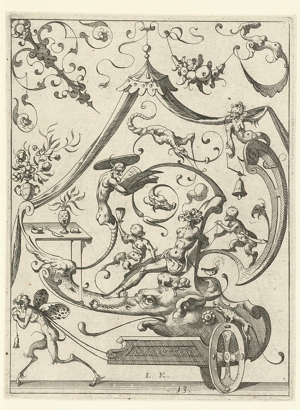 A wagon is pulled by a winged satyr by Lucas Kilian (1607) d