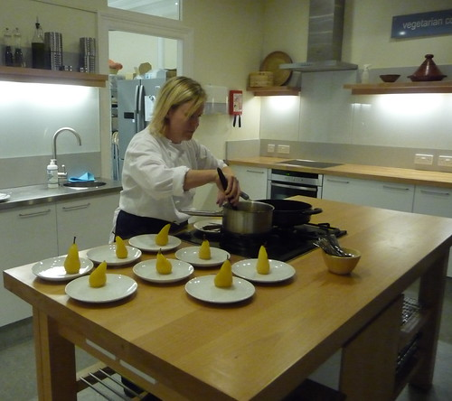 Jo serving the poached pears