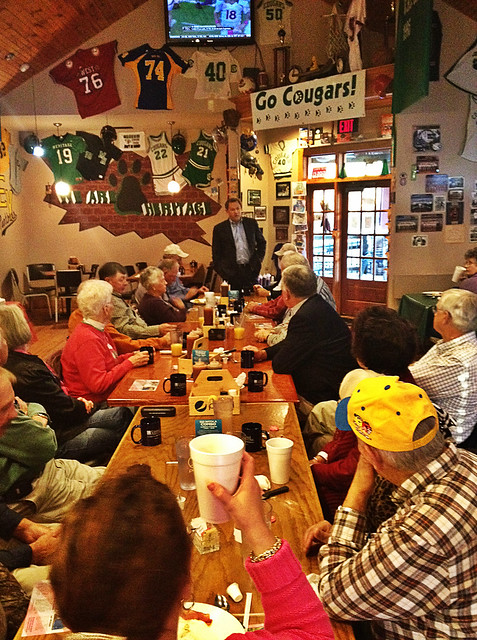 Speaking to supporters at Bubba's Restaurant in Yancey County.