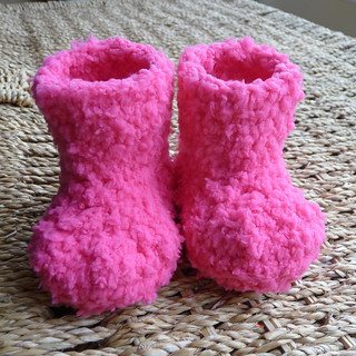 Pink fluffy crochet baby booties