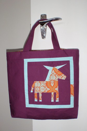 LIBRARY BAG - front, paper pieced donkey