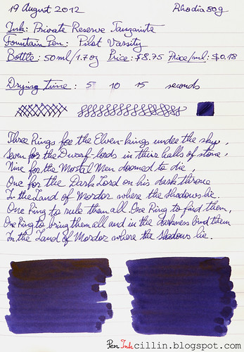 Private Reserve Tanzanite on Rhodia