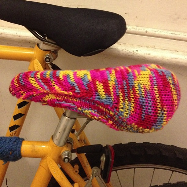 Finished my bike set cover! #knitting
