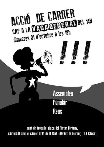 cartell 31 octubre 2012 a  cap a la vaga general