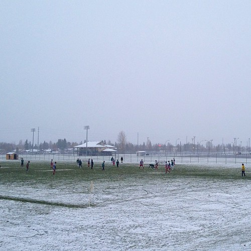We're pretty hardcore in Northern BC. Yes, that's snow and soccer.