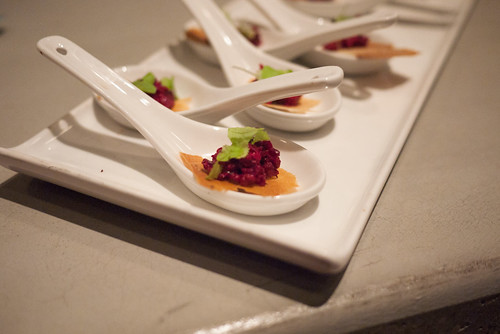 Beet tartare with Bacon Fat Aioli on Cumin Crisp @ downtownfood