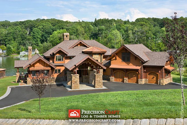 Complete Hybrid Log Home View | PrecisionCraft Log & Timber Homes