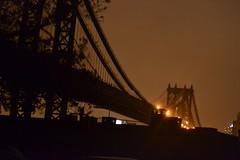 Manhattan Bridge goes dark, half of it.