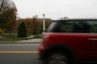 Classic Red Mini Drives By The Edgemont Park Memorial