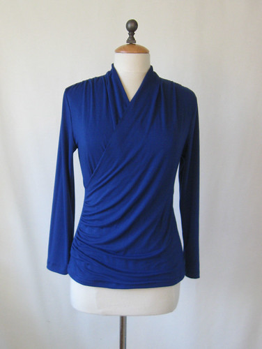 Royal blue knit wrap front