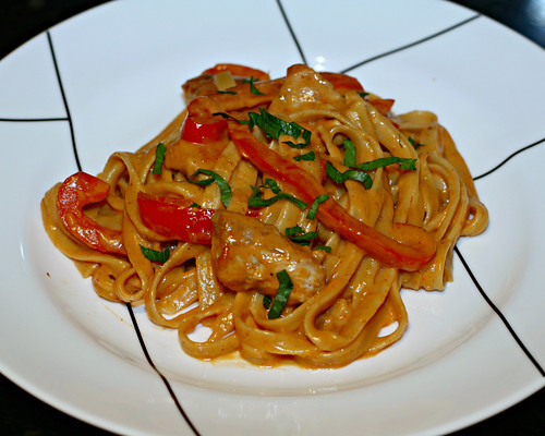 Cajun Pork and Peppers Fettuccine Alfredo
