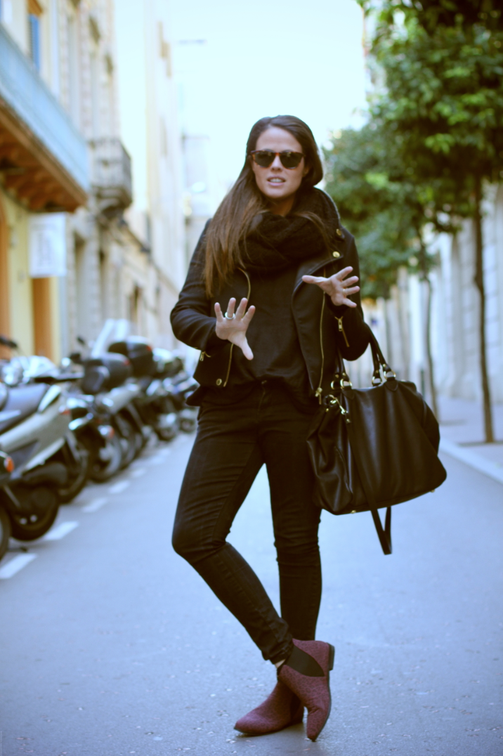 Look total black + animal print