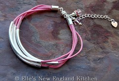 Pink and Silver Noodle Bead Bracelet with Waxed Cotton Cord