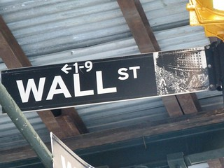 Cartel indicativo de Wall Street (Nueva York)