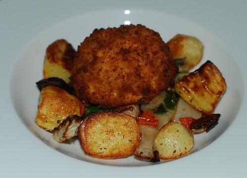 Salmon Fishcake, Sauteed Chard & Roast Tata/Turnip