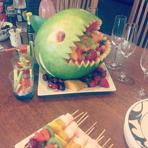 Family lunch. Watermelon shark by my step dad (I think I need to see how crafty he can get with a pumpkin).