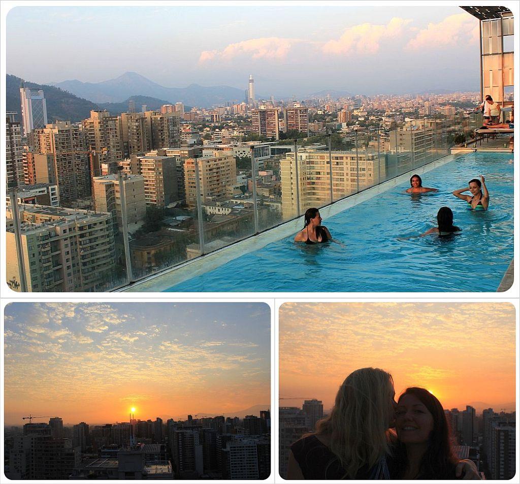 Santiago sunset rooftop