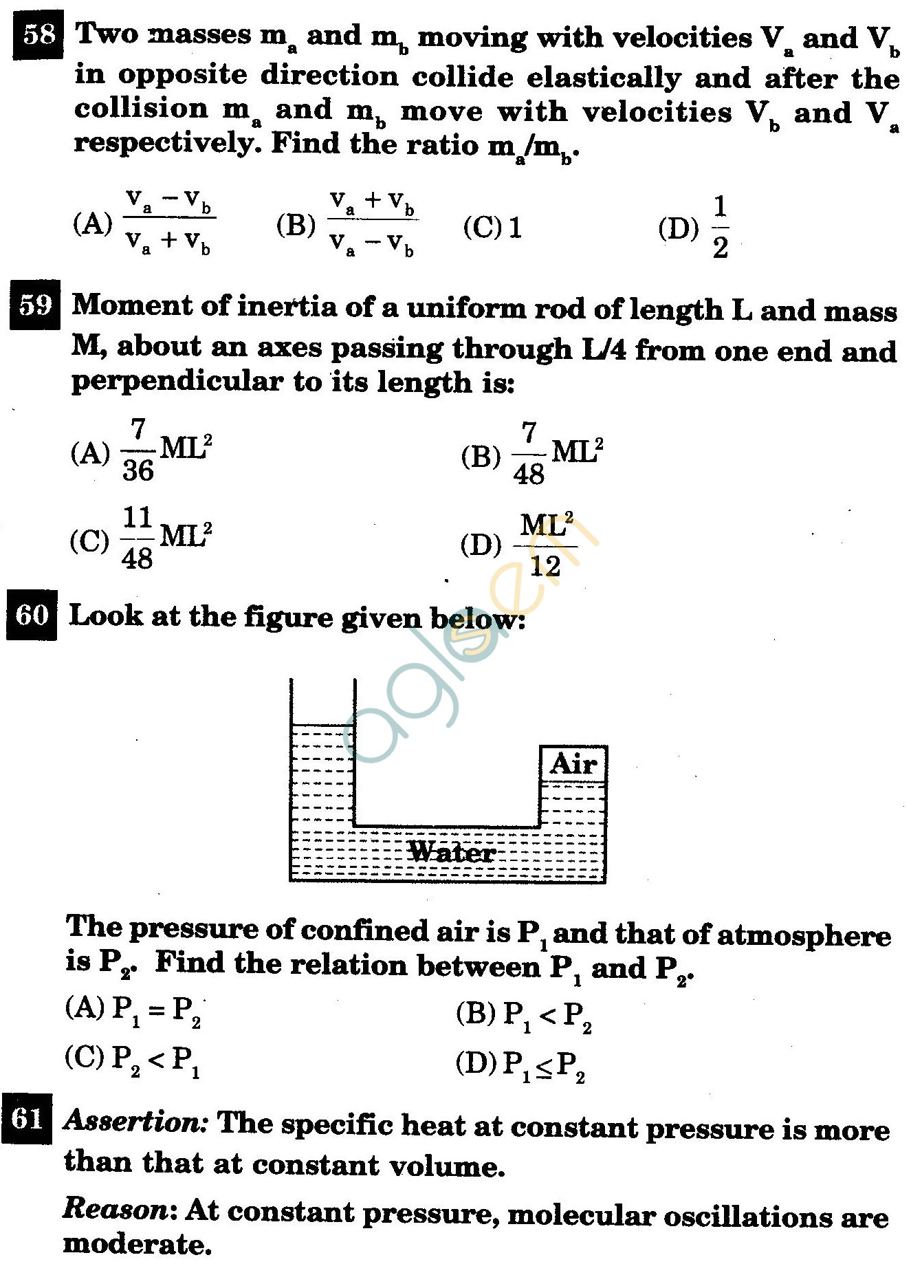 NSTSE 2011 Class XI PCM Question Paper with Answers - Physics