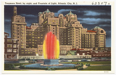 Traymore Hotel, by night, and Fountain of Light, Atlantic City, N. J.