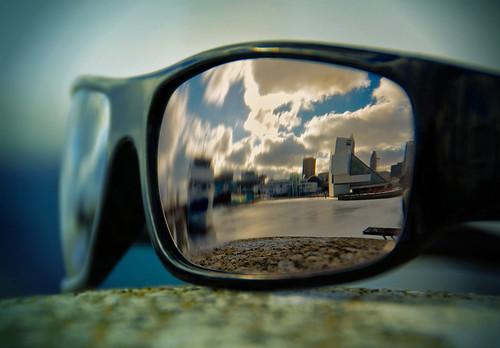 reflection sunglasses cleveland rockrollmuseum