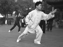 white, t'ai chi ch'uan, sports, martial arts, monochrome photography, monochrome, black-and-white, baguazhang, black,