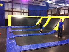 trampolining--equipment and supplies, room, trampoline,