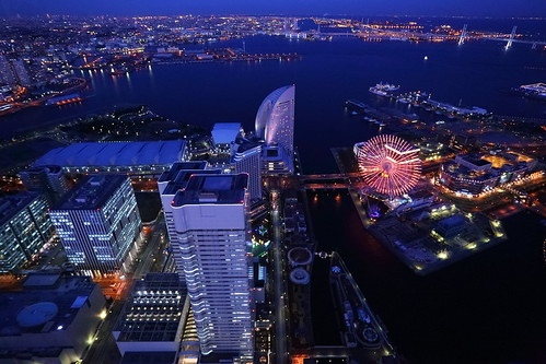 city light building japan architecture skyscraper port landscape harbor construction cityscape bayside nightview yokohama 夜景 minatomirai 横浜 みなとみらい yokohamalandmarktower