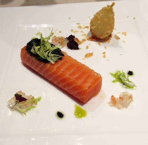 Amuse Bouche: Sous Vide Ocean Trout, Sustainable Caviar & Prosecco Pear Crushed Almond, Vine Tomato Jelly & Garden Cress