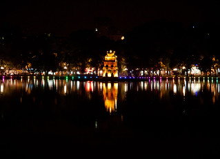 Tortoise Pagoda at Night at Hoan Kiem Lake - Hanoi, Vietnam