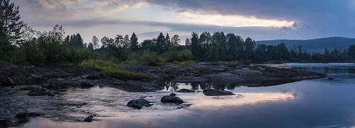 dis gjølstadfossen elv glomma river sunset panorama norway solnedgang scenery landscape