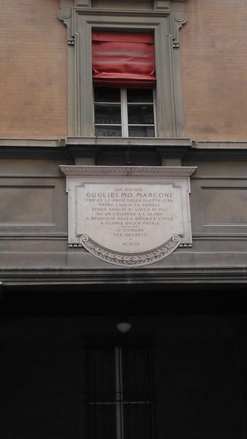 Photo of Guglielmo Marconi white plaque