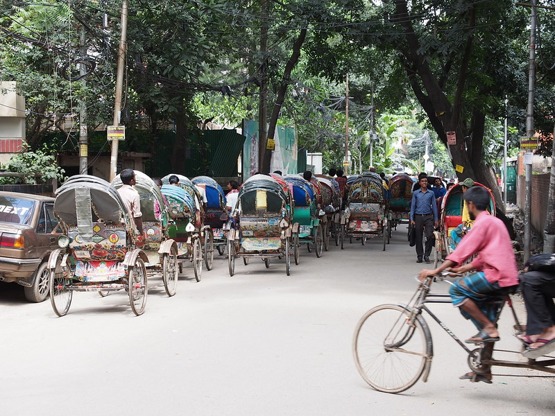 Lined up rickshaw
